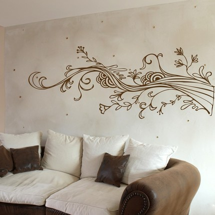 Dali Decals-Swirling Wispy Tree Branch with Flowers - Wall Decals