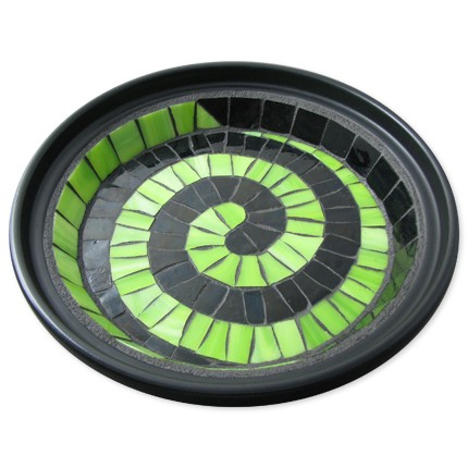 Moxiecupcake-Lime and Licorice - Large Twisted Glass Mosaic Accessory Dish